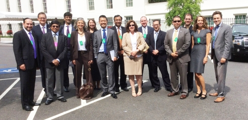 Evan Scharf, Vice President of XBRL Services (far left) visits the West Wing with The Data Transparency Coalition members.